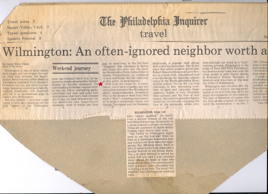 A Philadelphia Inquirer article about the music that was going on in Wilmington in the '80s.